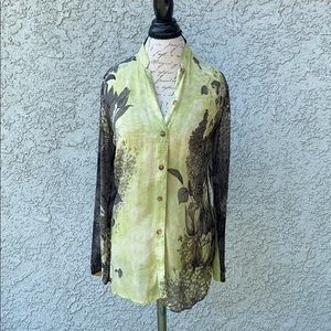 Citron VTG Green Button Down Silk Sheer Blouse